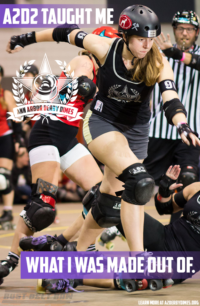 """""""This league has shown me a part of myself that I didn't know was there. Twenty-five years I wandered around this world not knowing how determined, athletic, competitive, aggressive, supportive, and nurturing I could be."""" -Susan B. Slamthony, formerly Brawlstars skater and A2D2 Public Relations Chairperson  Learn how  A2D2 takes you on a journey of self-discovery .  Photo:  Lex Dodson"""