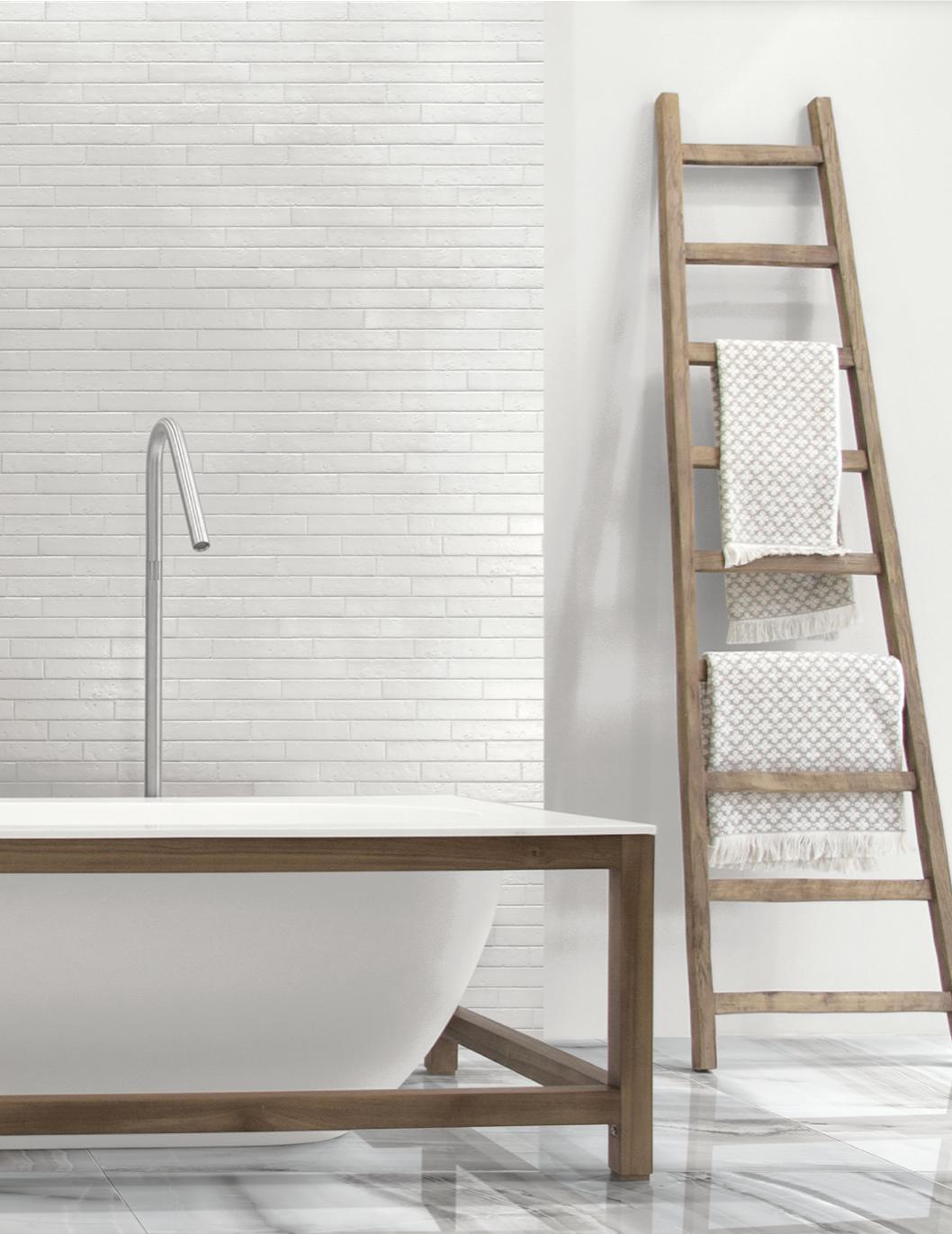 Ceramique mur salle de bain antique blanc