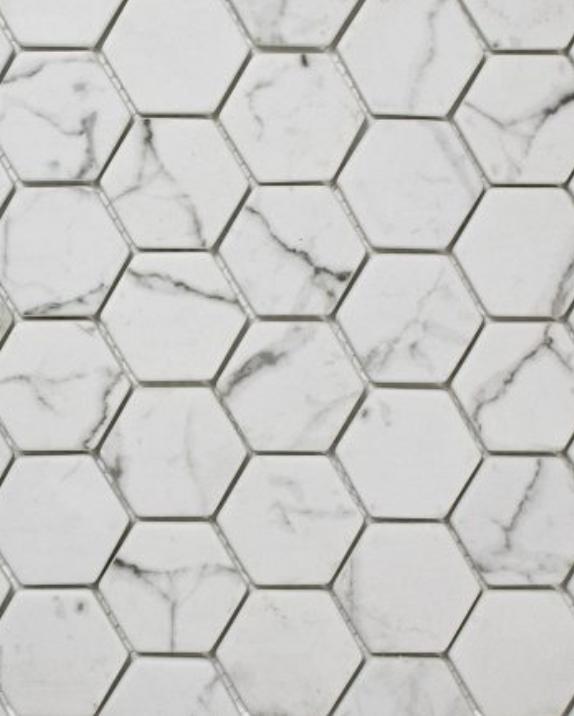 "Statuario, hexagonal 2"", $15.79"