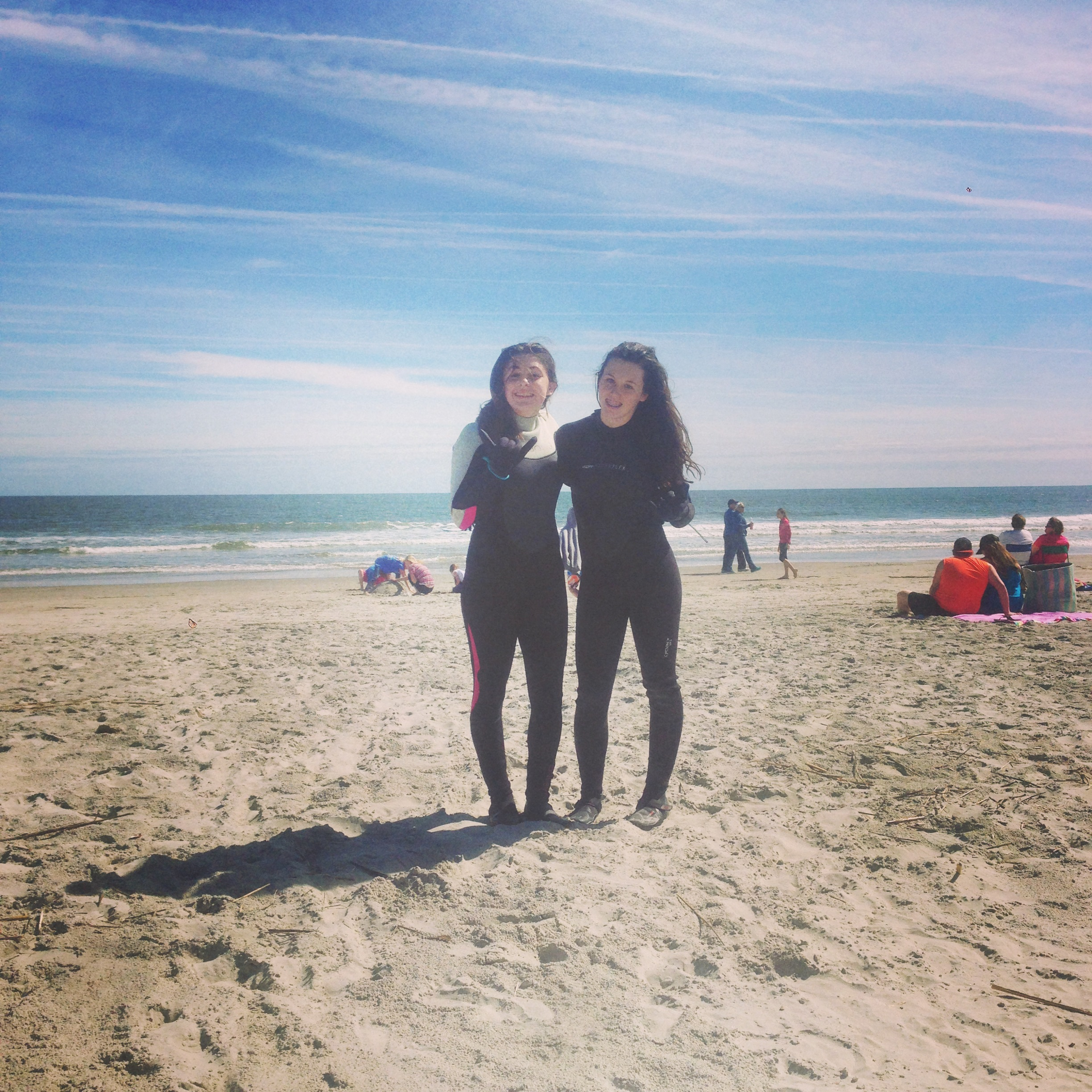 Marissa and I enjoying the cold weather and small waves