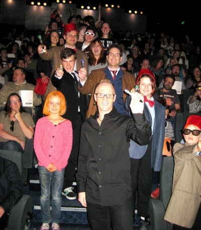 Nov 24 - Our 50th anniversary Dr Who event at The Palace East End Cinema. 550 Dr Who fans attended our event and here is the event MC - Starship Mawson Club Captain - Stu Blair with the audience from our first of two screenings!