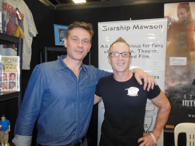 A surprise guest at our expo stand at Oz Comic Con on April 5 and 6 in Adelaide!  Connor Trineer from Star Trek - Enterprise and Stargate popped by to catch up with us, as we had had Connor as a guest here in Adelaide for an event 8 years ago.. It was fun to catch up and Connor is pictured here with Club Captain - Stu Blair.