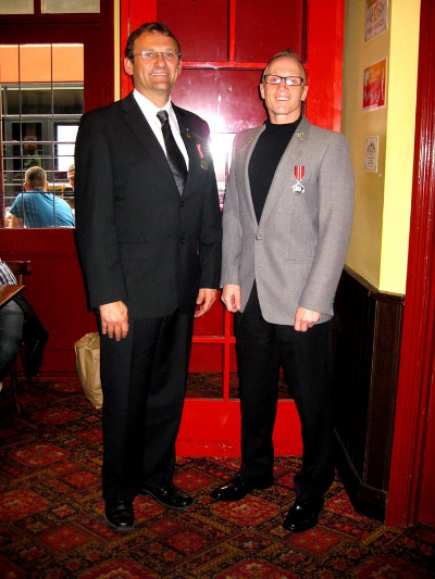 April 23 - ANZAC Day meet-up (Club President - Stu Blair, in grey suit jacket with fellow serving member - Mick after the parade).