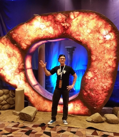 Stu in front of one of the many interactive displays at the convention - The Guardian of Forever from the classic Star Trek series episode 'City on the edge of Forever'