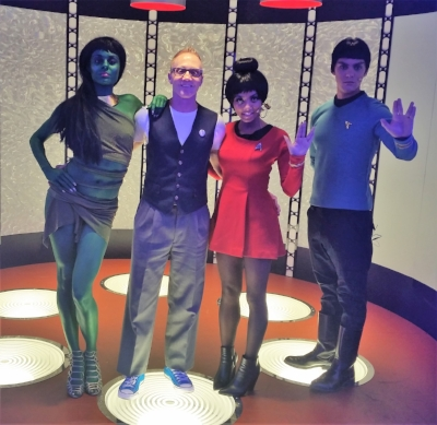 What a cool shot of Starship Mawson Event Director - Stu Blair with some great looking costumed fans on the transport pad inside the Mac Cosmetics stand at Las Vegas Star Trek Convention 2016!