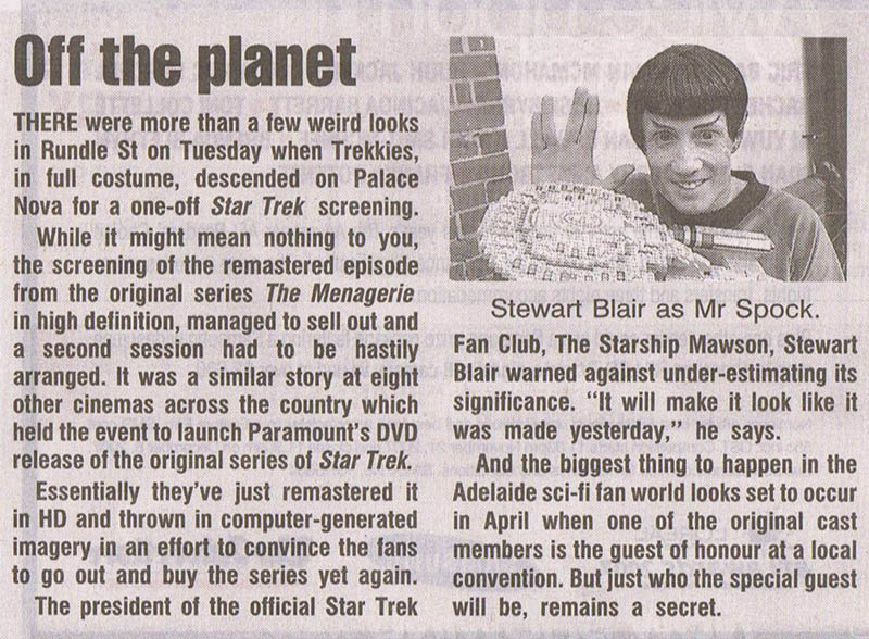 This article was featured in the Adelaide Advertiser Newspaper - 2006