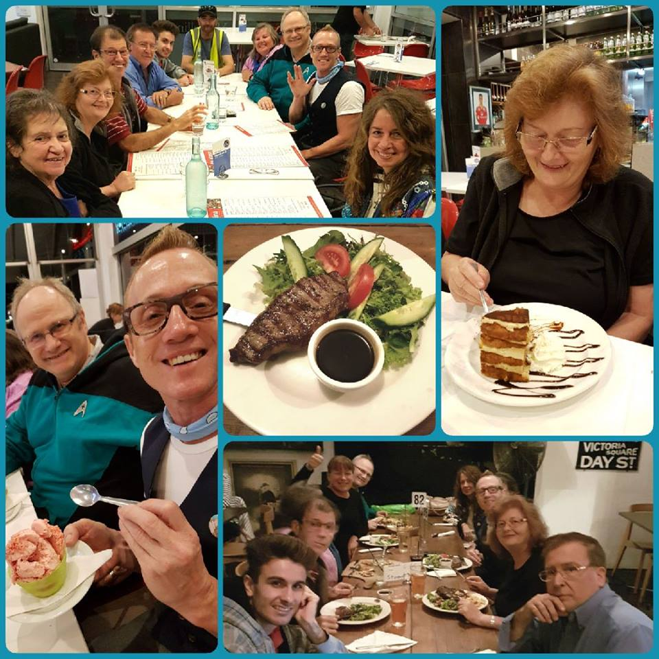 March 31 Foodies night for Starship Mawson's Galactic Gourmets was a hoot!  The evening commenced with a tasty repas at The Edinburgh Castle Hotel followed by a leisurely stroll to Marcelina's restaurant for coffee, cake and gelati!