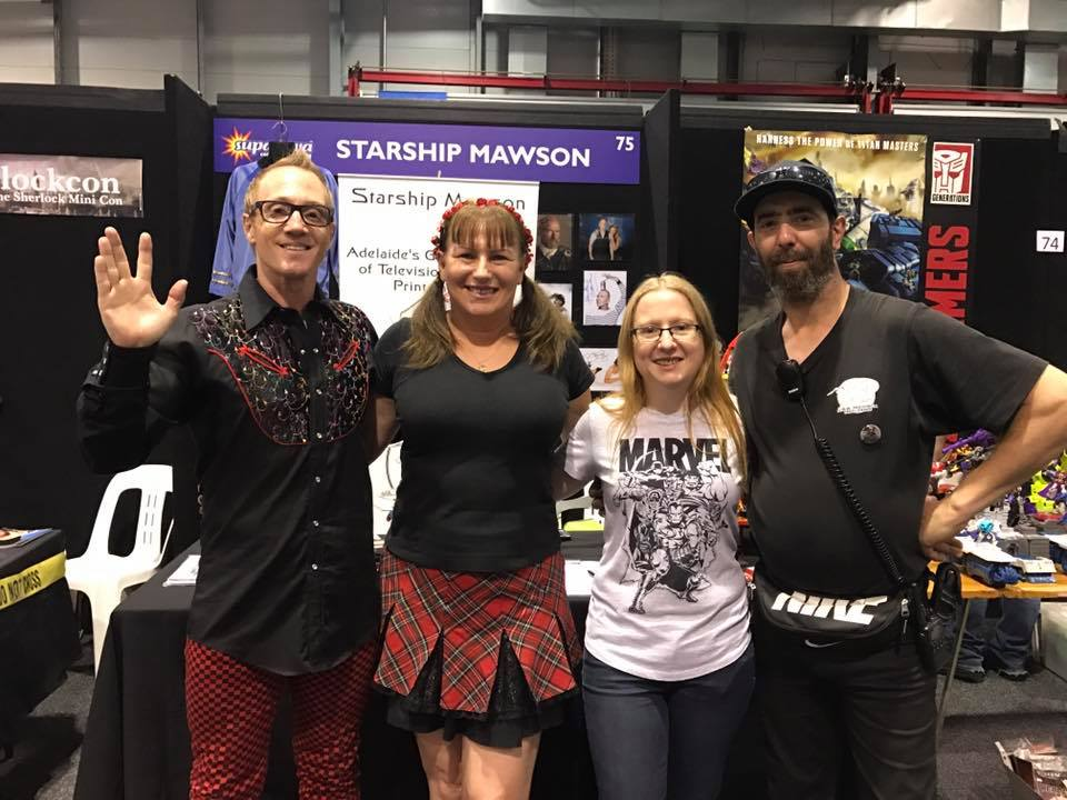 Supanova Comic Con in Adelaide on November 17 to 19 was a fantastic event!  Starship Mawson members; Stu, Ilona, Kathrin and Rob at the stand, and what a most successful weekend of marketing and promotion for us with new subscriptions and memorabilia sales!