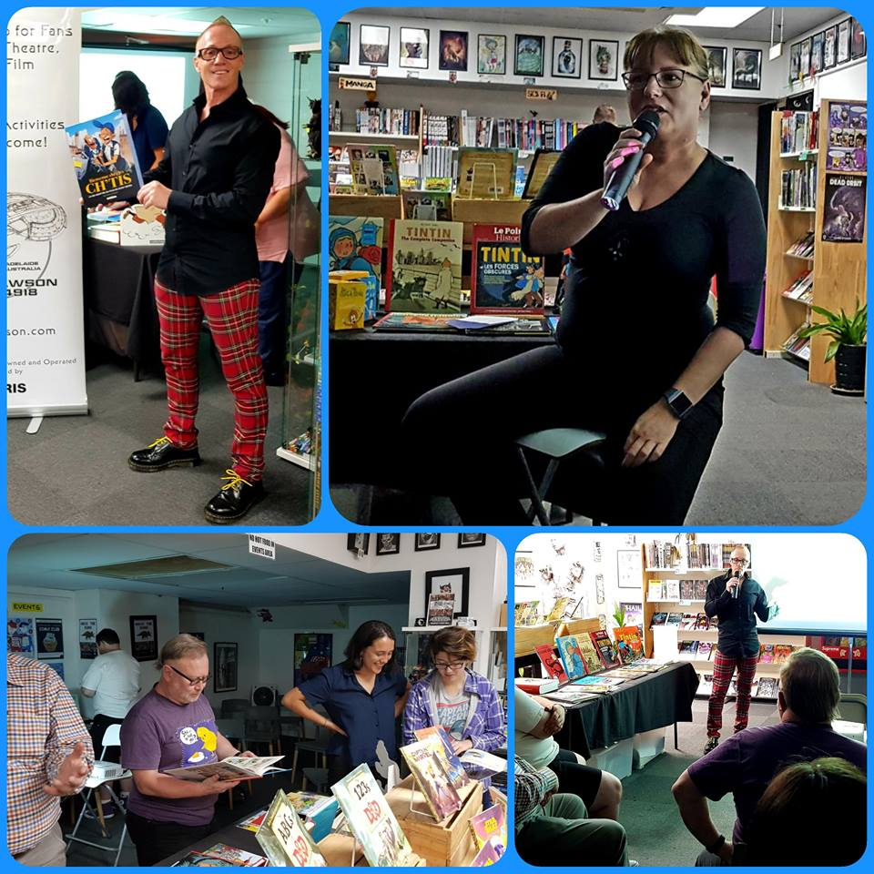 Feb 9, 2019: There was a great gathering of comic book fans in Greenlight Comics for Starship Mawson's presentation of la bande dessinée. Starship Mawson Event Director, Stuart Blair, delved into his thesis investigations of the literature, as well as discussing the influence of la bande dessinée in a global society. Ilona spoke about the Brothers Grimm and a parochial pair of cartoon characters from the city of Stuttgart in Germany.