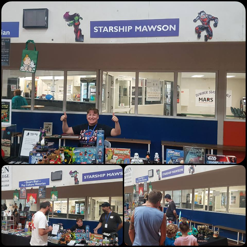 April 14: Special thanks to Mawson Crew members; Ilona and Rob for creating a fantastic exhibition area at the Adelaide Comic Con and Toy Fair!