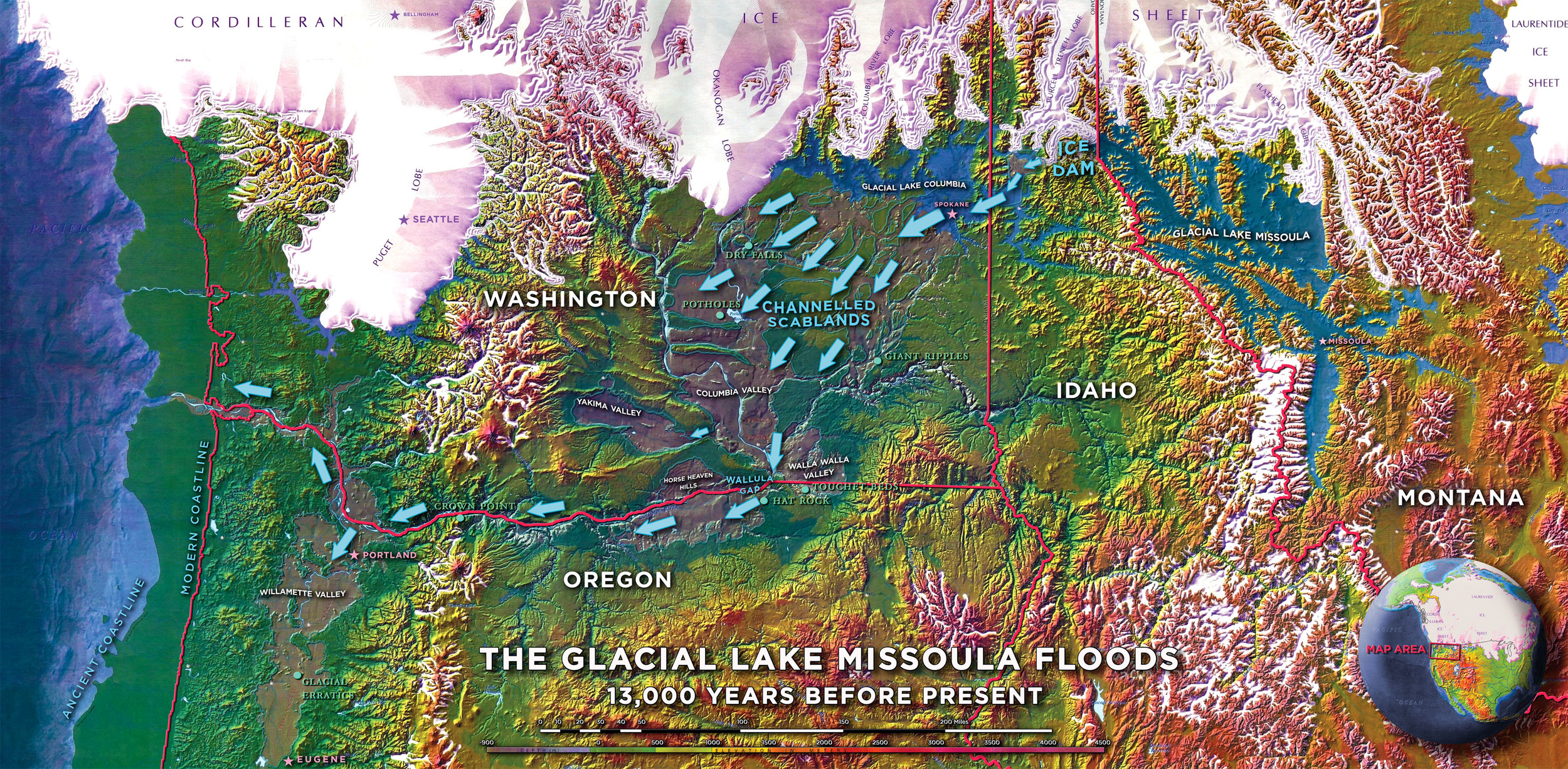 A complete map of the floods, based on a USGS map.