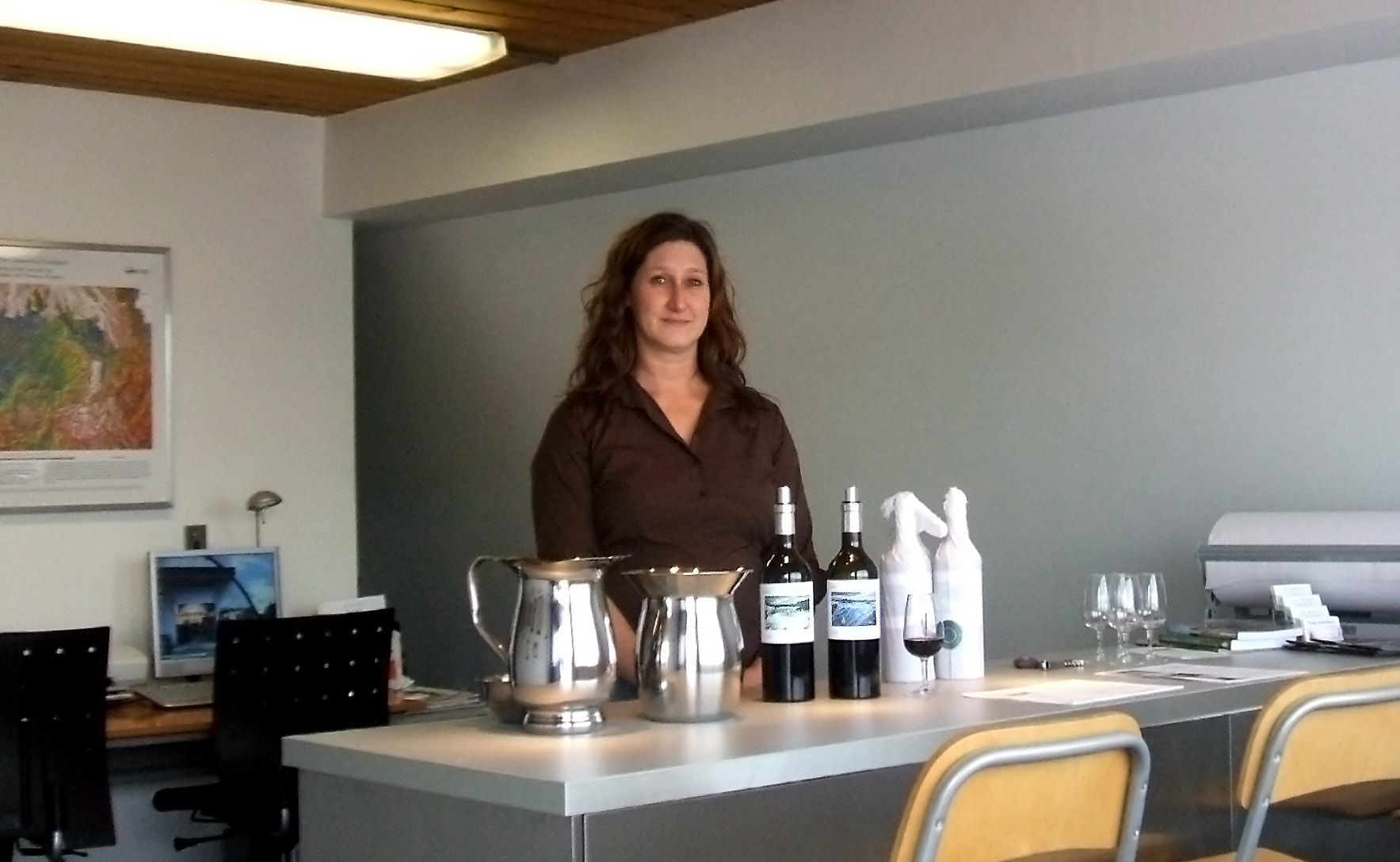 Tracey in our first tasting room, 2006