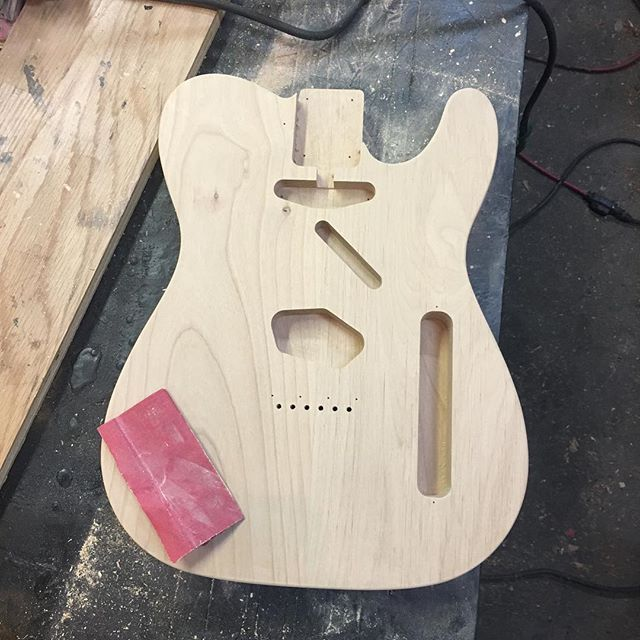 Lots of sanding. Side project time in the shop. Trying our hand at building s telecaster style guitar.