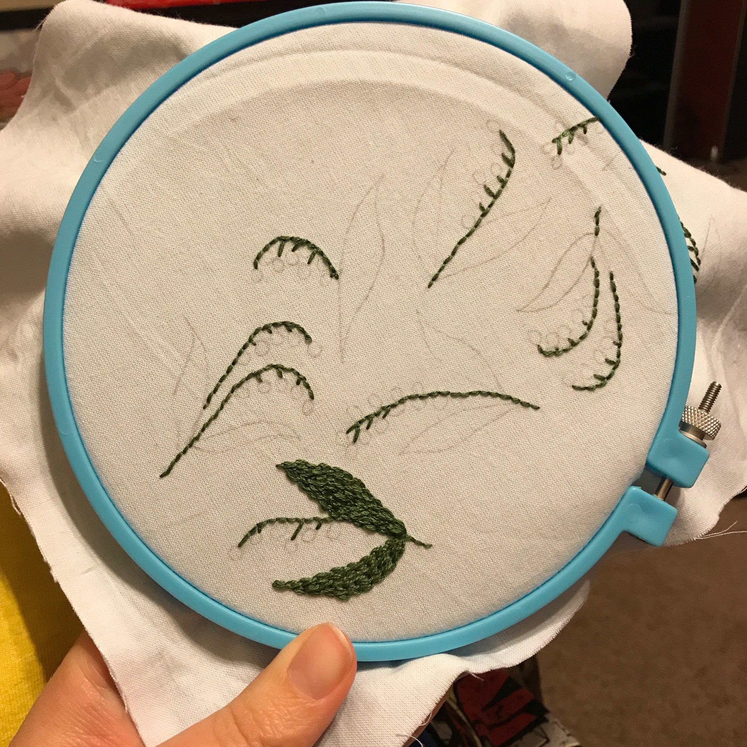 I like to break down most projects into like parts:  outline and straight stich the stems, Chain stitch the leaves, then ending with the white berries.