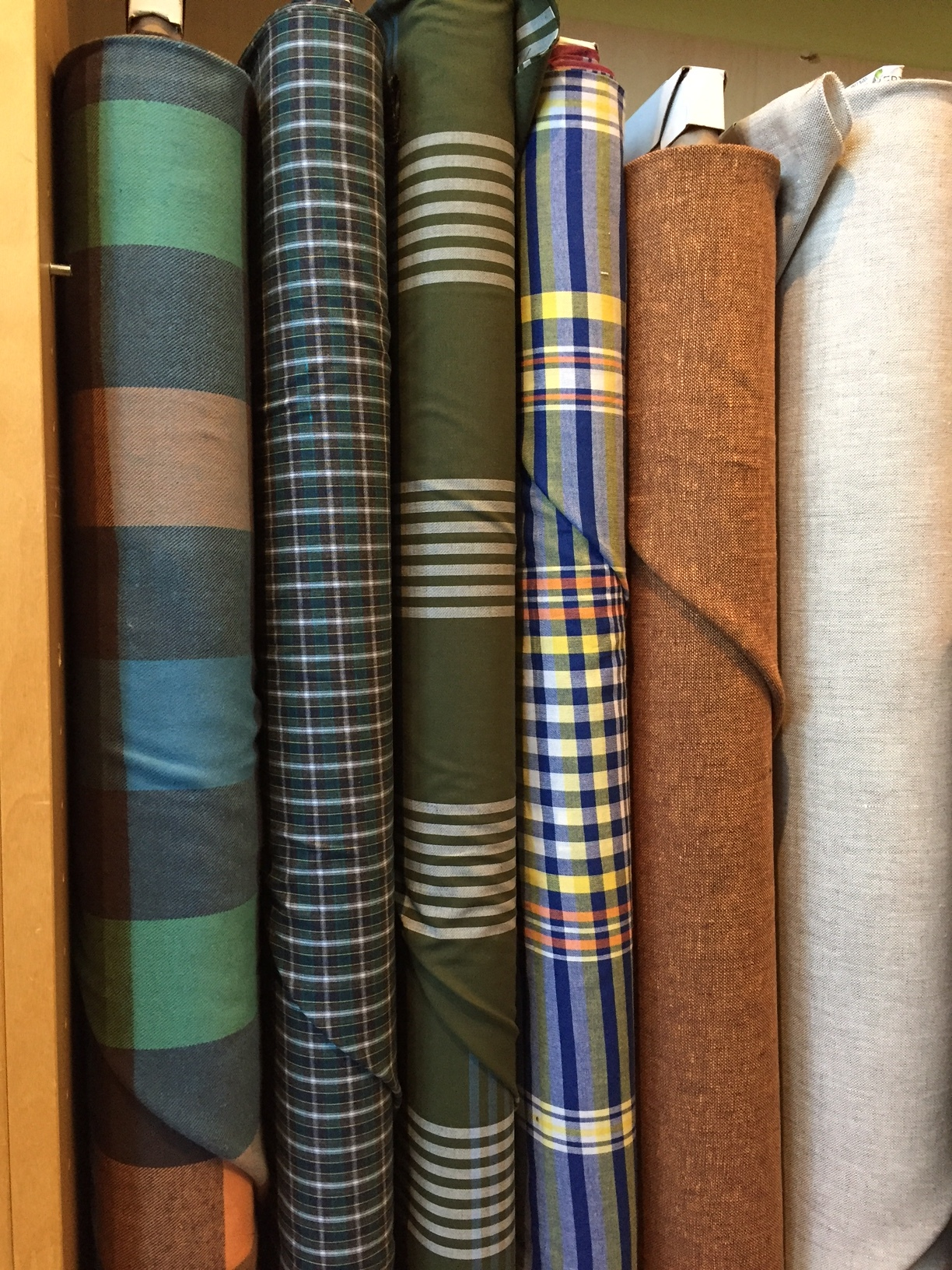 Box plaid flannel, yarn-dyed shirtings, and rusty cotton/linen blend