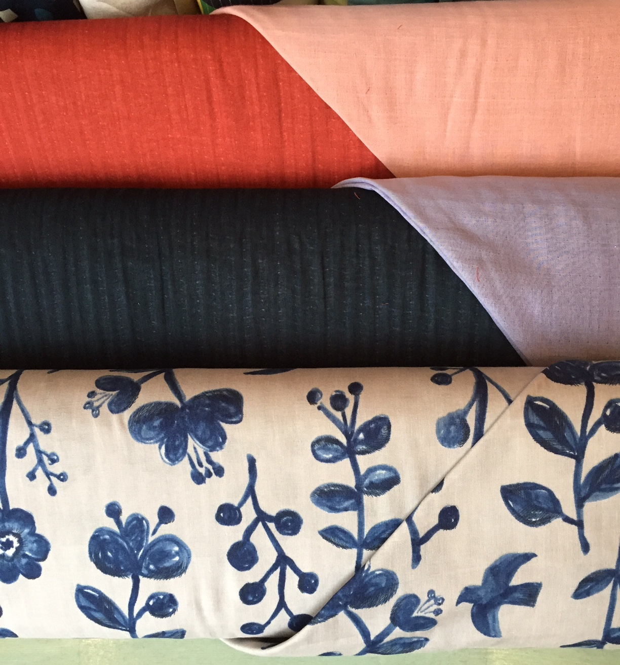 Lovely double sided double gauze and navy print double gauze from Japan.