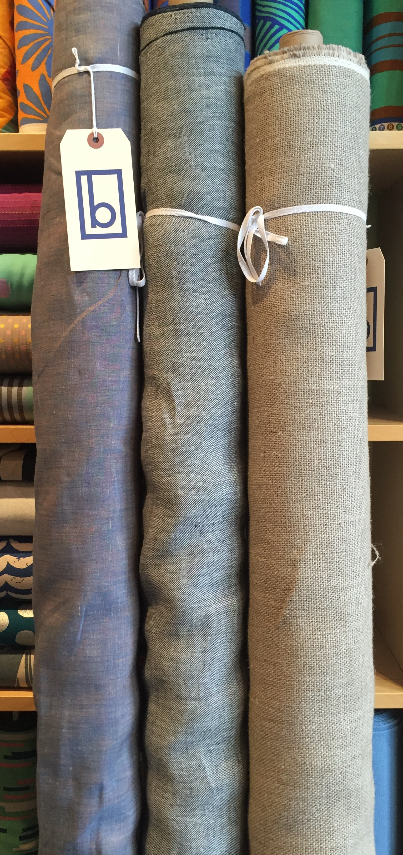 The linen burlap on the far right washes up beautifully!