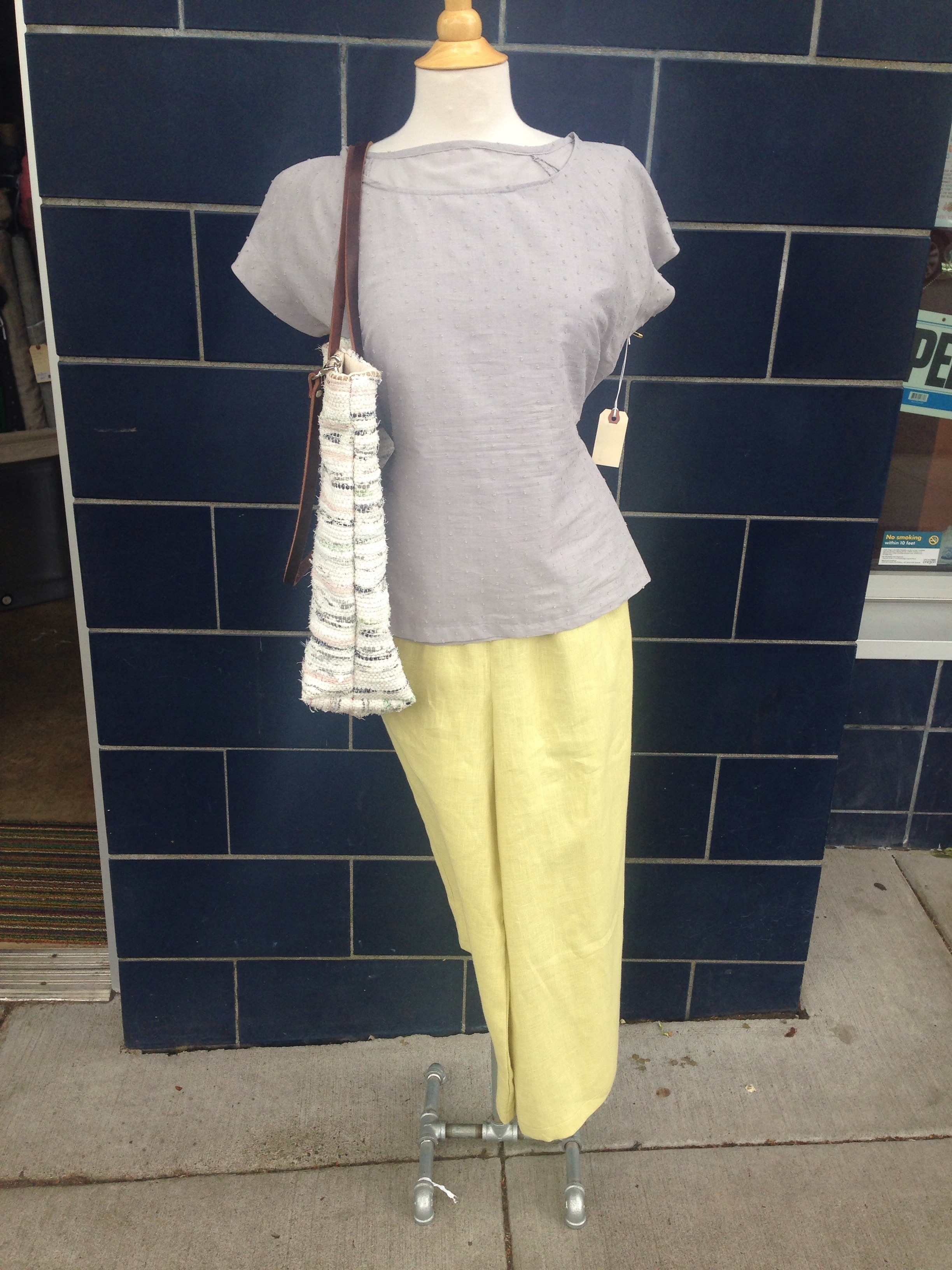 Belcarra Tee with a brand new sample by Sarah - more to come on those soon - and a rag rug bag by Hannah.