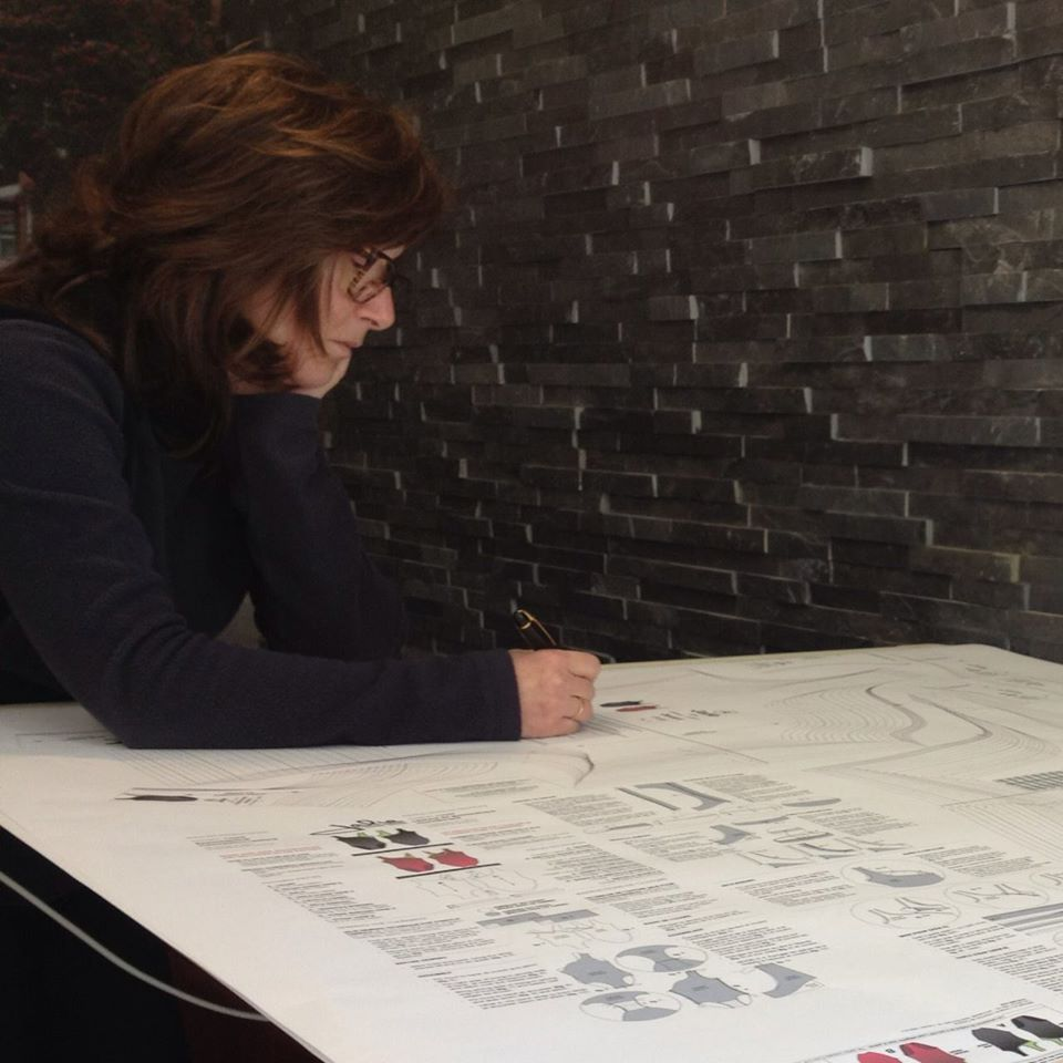Founder, Jeanne, working on a pattern