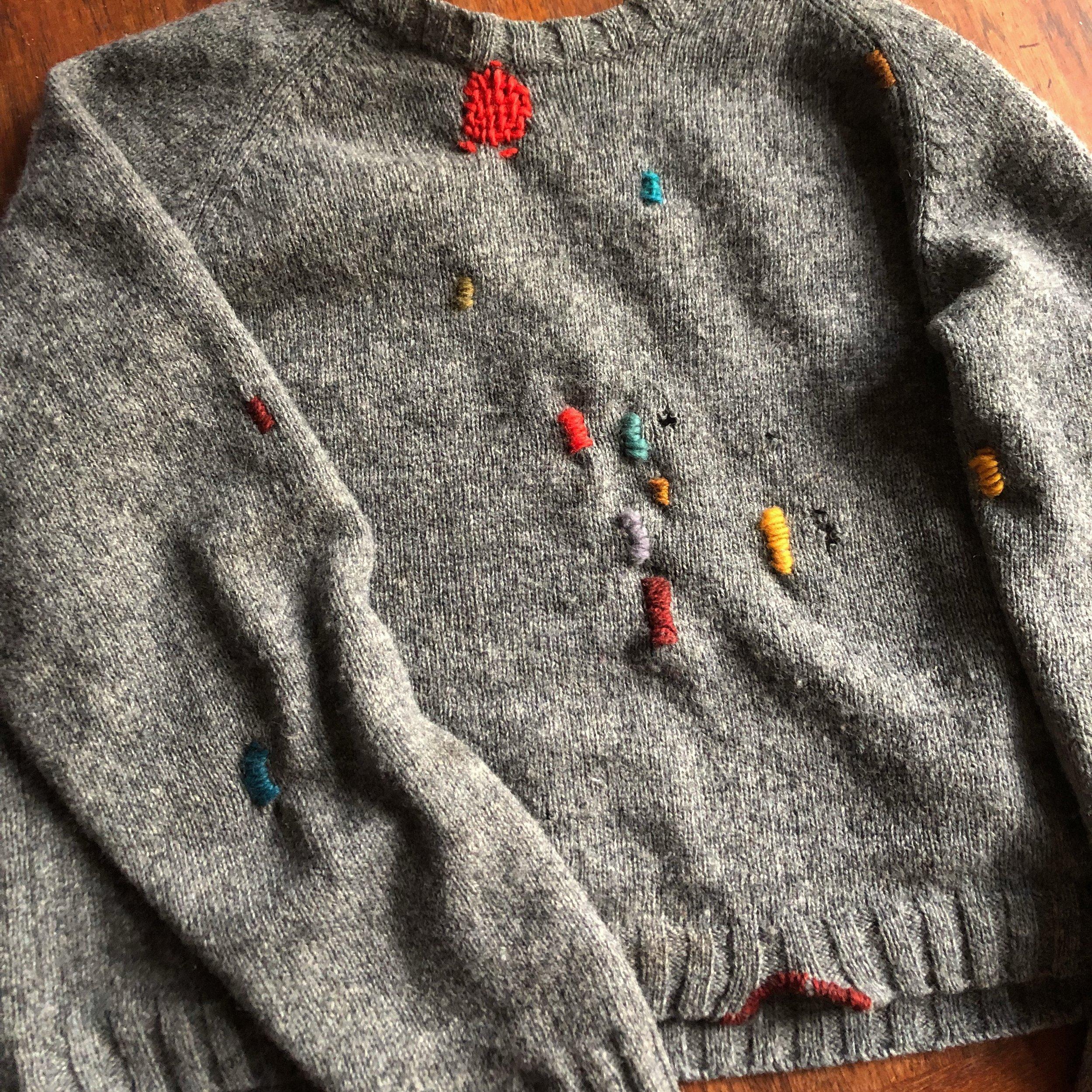 A colorful, fun darned sweater.