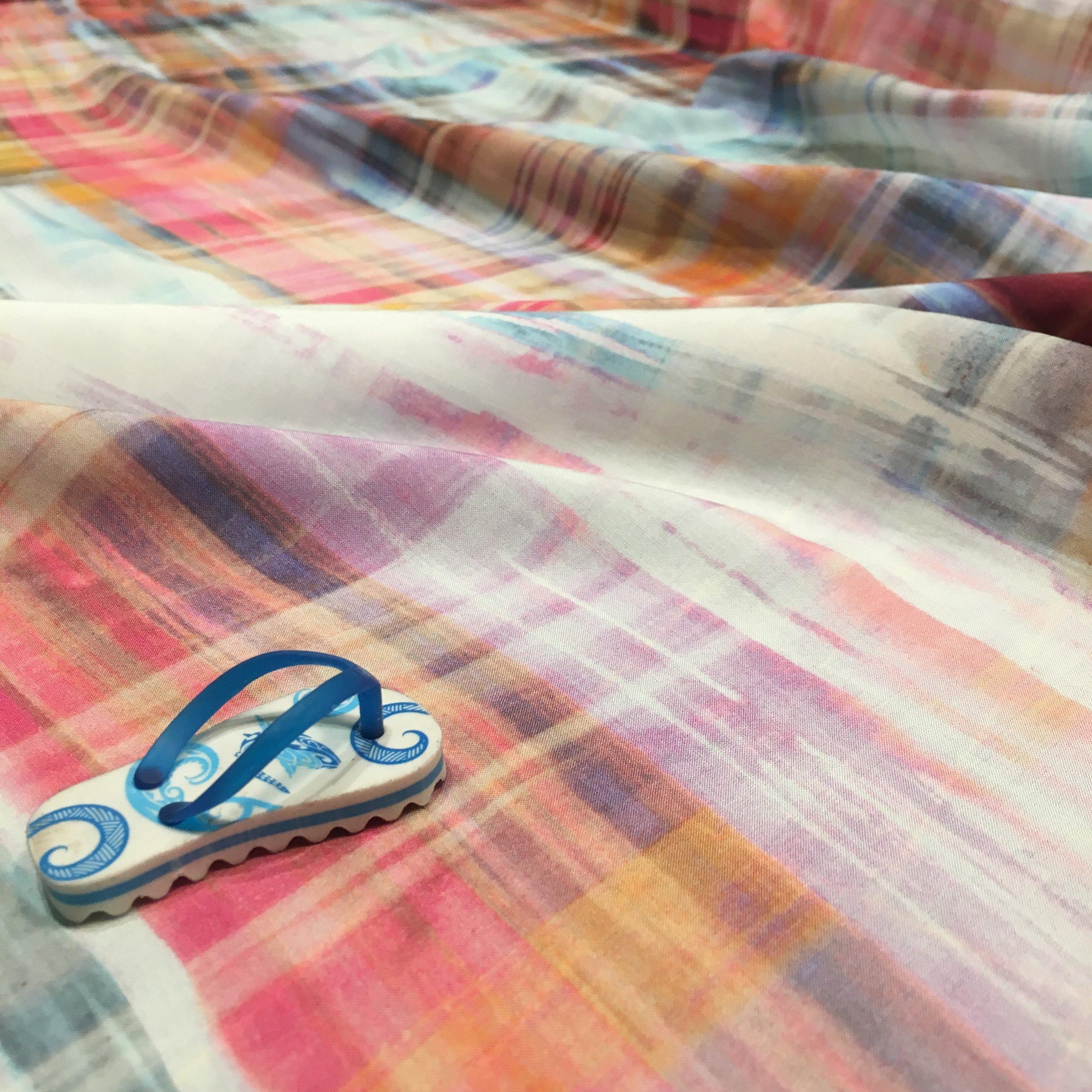 Sun-streaked Plaid Rayon