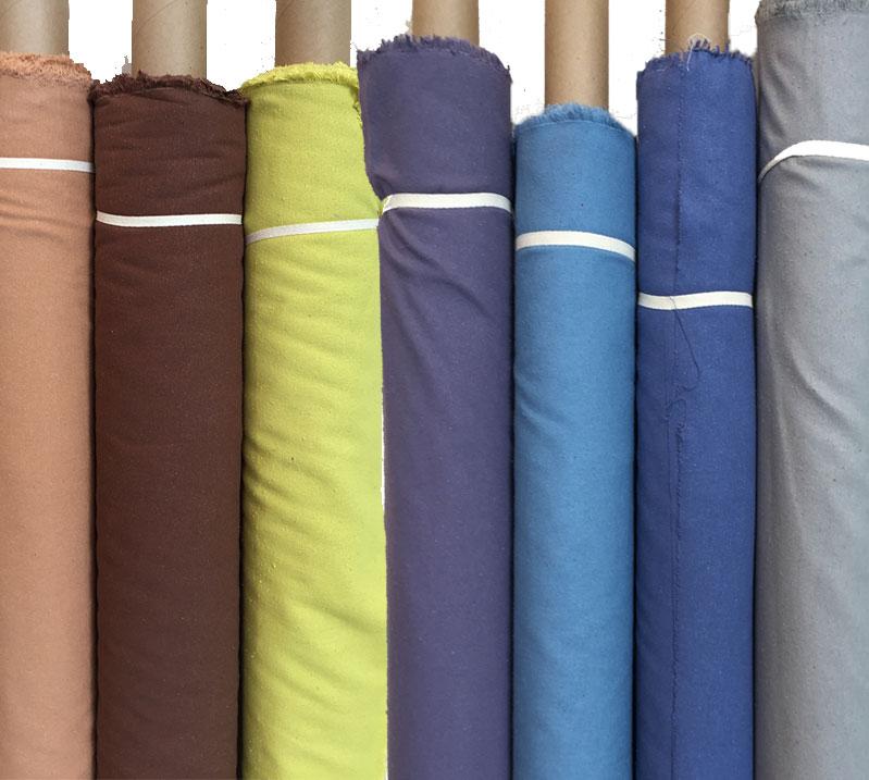 Silk noil (left to right): cork, nutmeg, venomous yellow, purple sage, blue shadow, periwinkle, gray