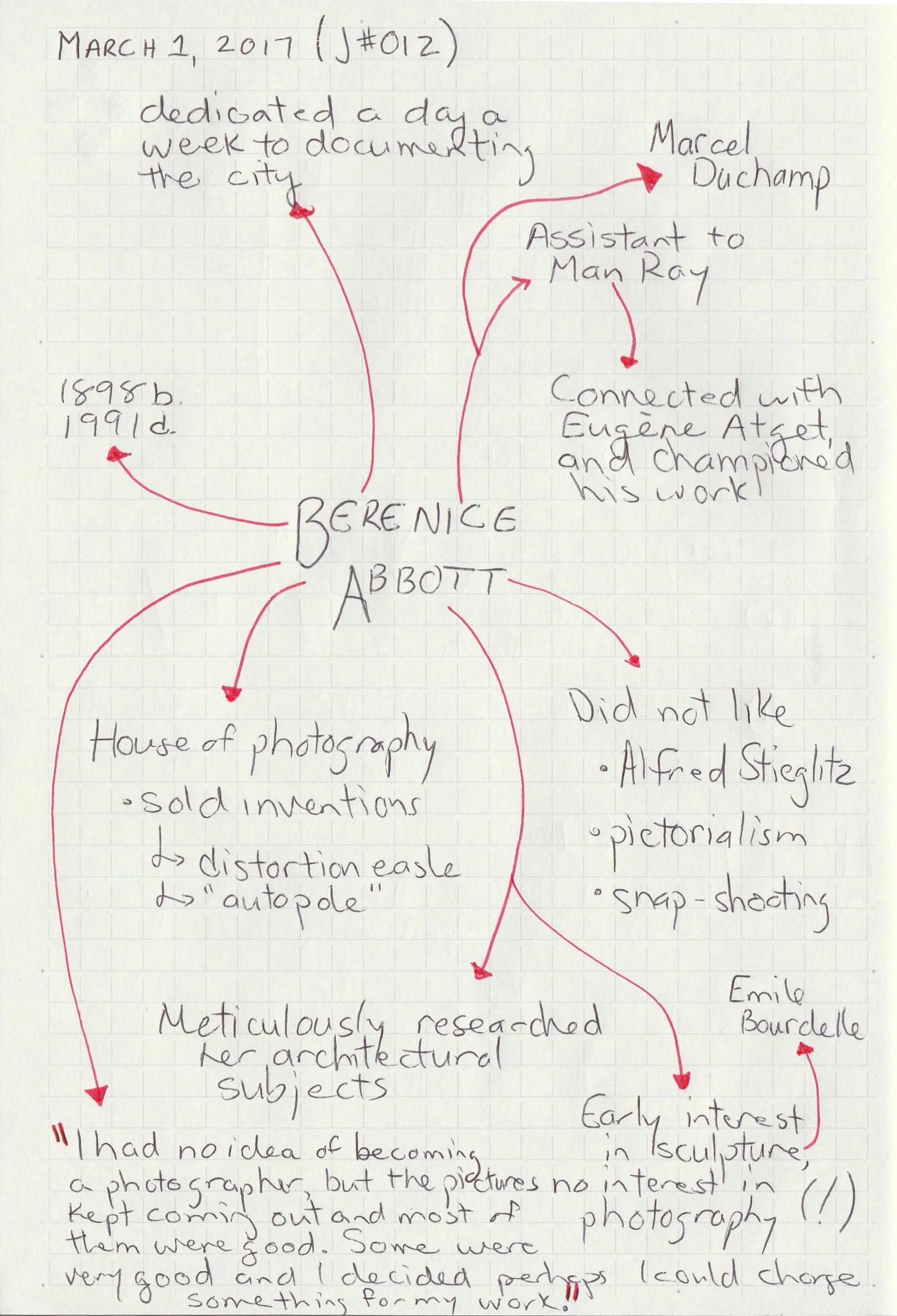 Berenice Abbott; March 1, 2017 Journal #012