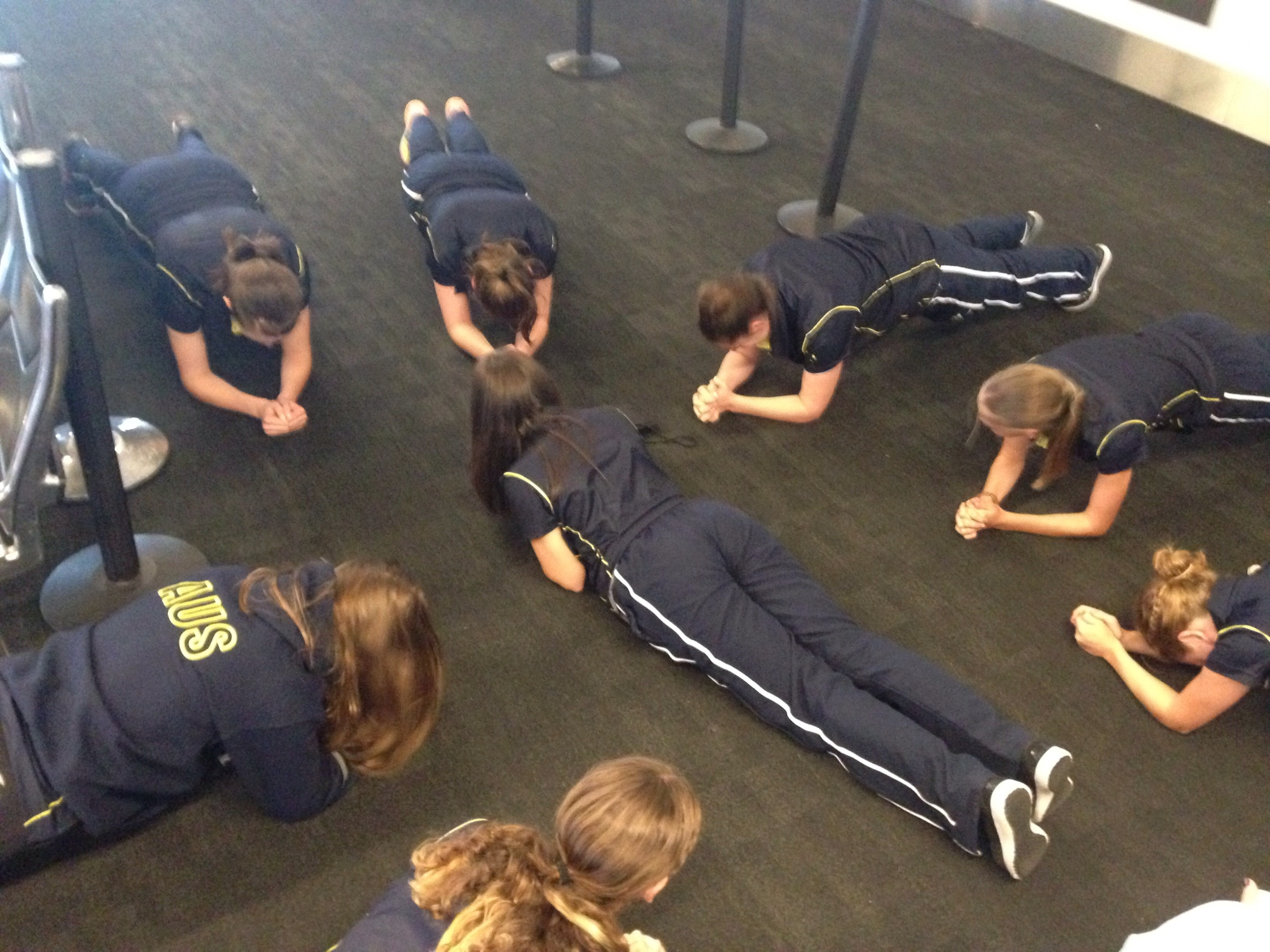 Is there a better way to spend time in an airport than a planking competition?