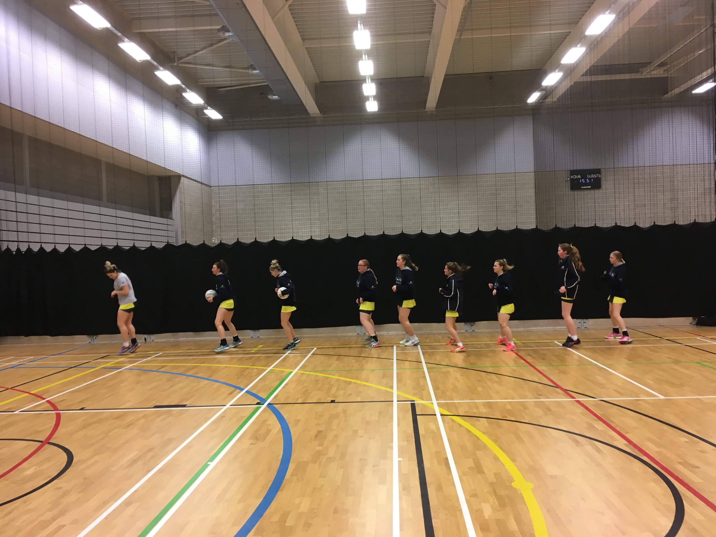 18&U girls warming up for their match
