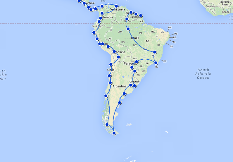The proposed route of only 45,507 Kilometres or 28,278 Miles.