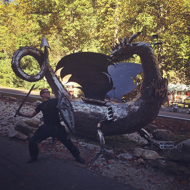 The Tail Of The Dragon is 11 miles with 318 twisty turns over the Smoky Mountains. Beautiful, dangerous and naturally there's swords and shields at the end.  #motorbike #ride #