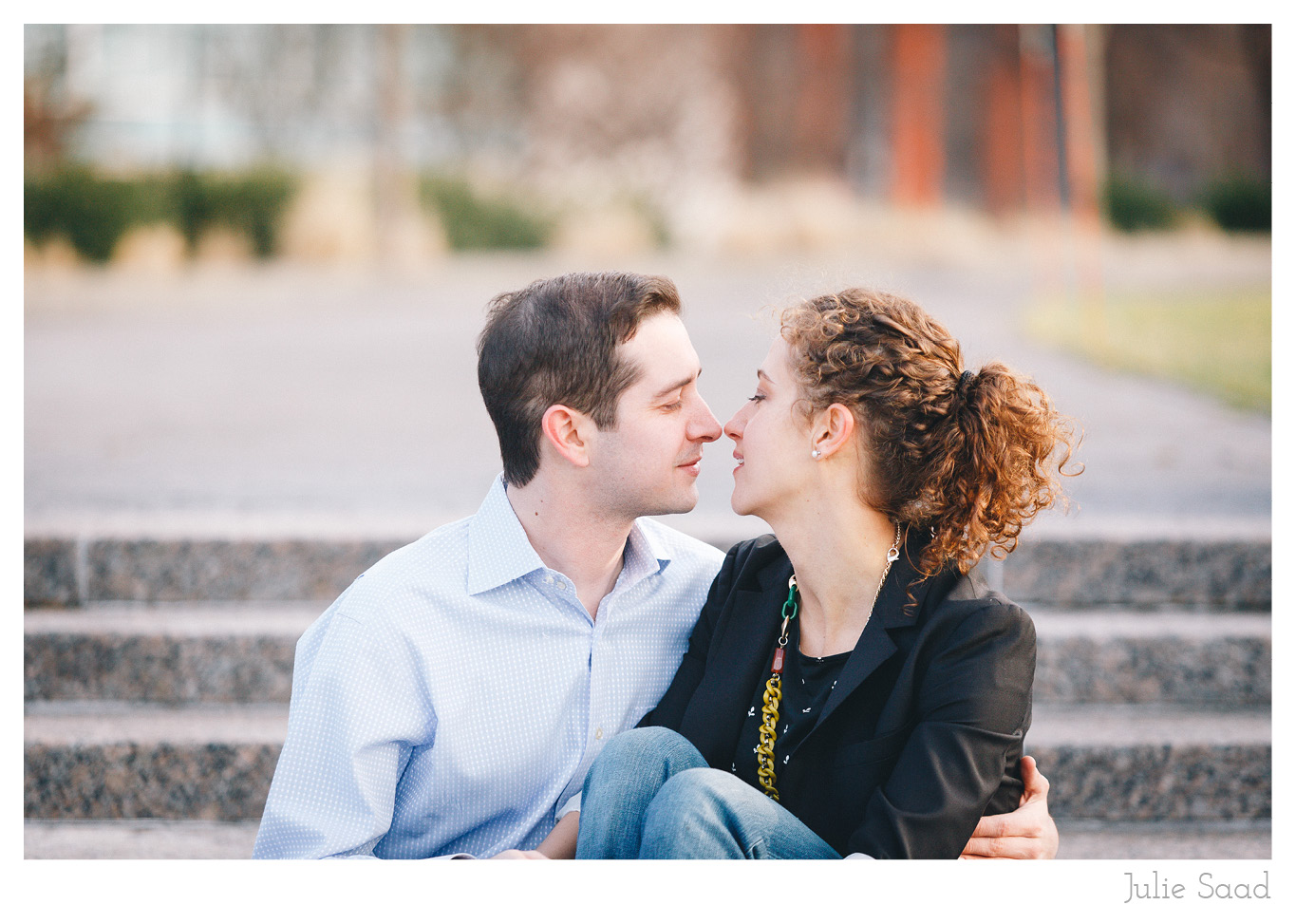 Romantic Color Engagement Photo