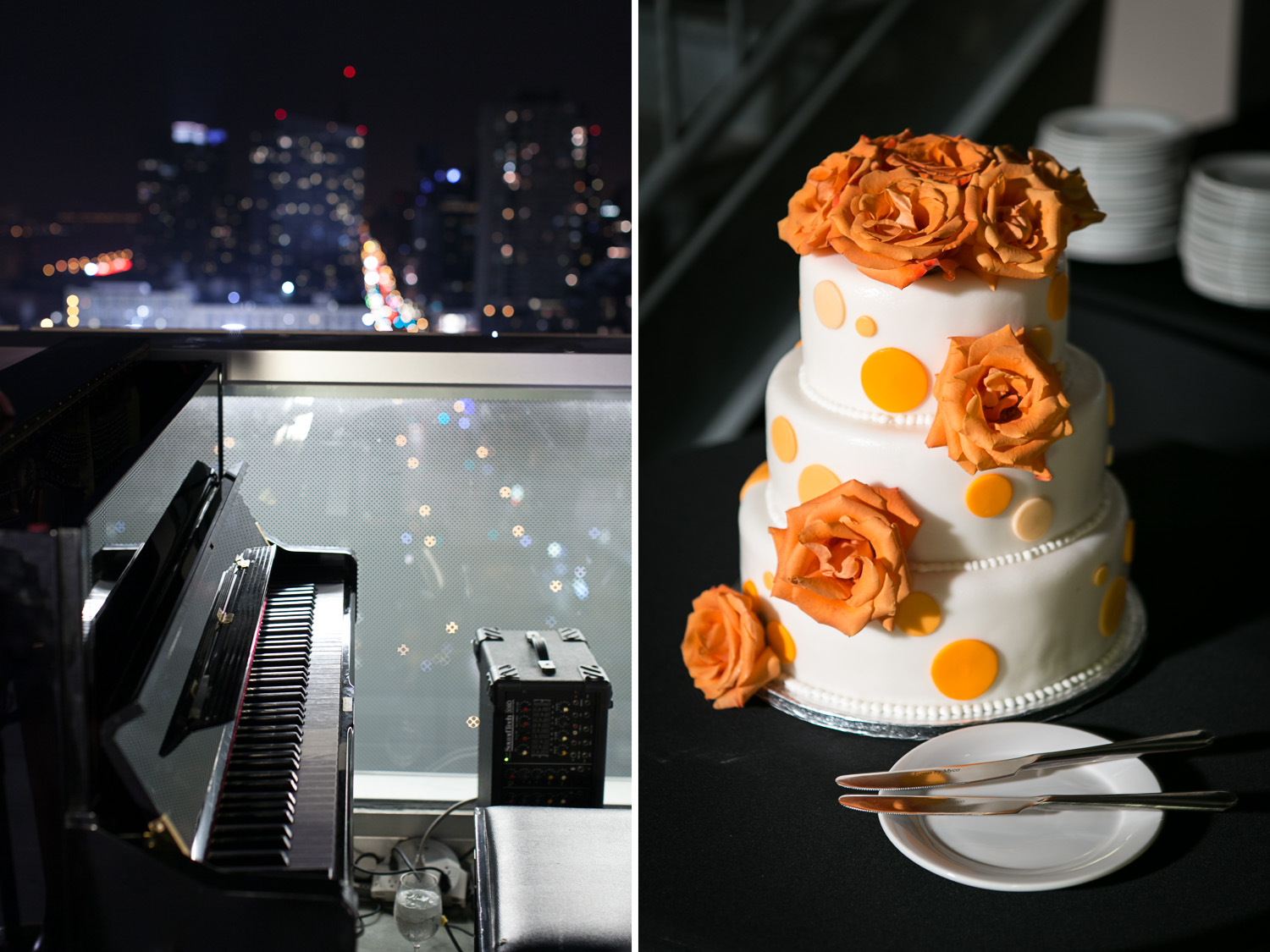 This image is a diptych which shows two wedding photographs from Jane and Larry's intimate wedding at Ink 48 in Manhattan, New York in the fall. Since it was an autumn wedding, Jane chose a beautiful orange color to be used in her invitations and decor, including here on the wedding cake, which was a three-tiered masterpiece with white frosting and orange roses. On the left is the piano that the groom, Larry, stepped in to play throughout the night.
