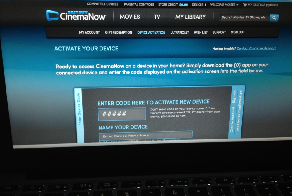 """computer side of the CinemaNow """"authorization"""" handshake required for my Blu-ray player to access CinemaNow"""