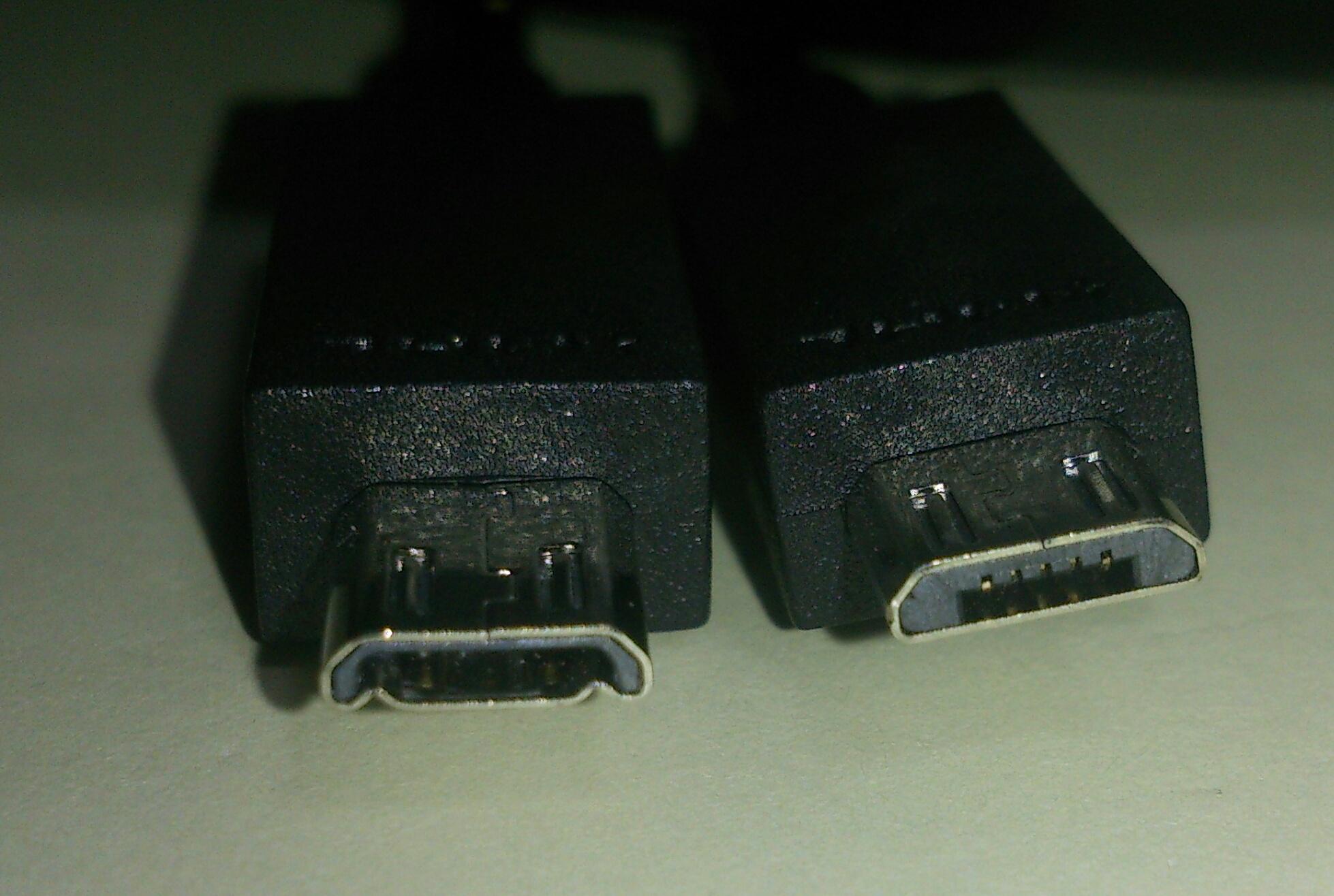 11-pin MicroUSB (left) vs 5-pin (right)
