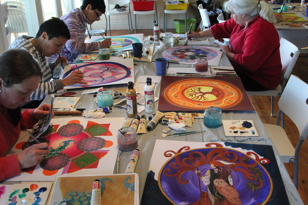 What if your body is contained in your soul?  Making mandalas  at an art retreat