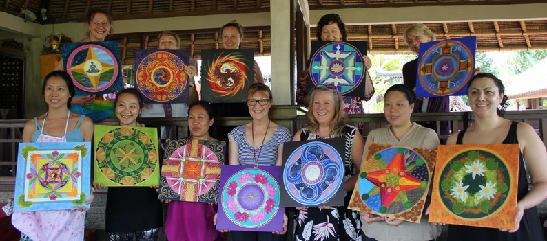 Happiness is making mandalas! Bali mandala group.