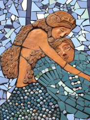 Detail of mermaids in the mosaic.