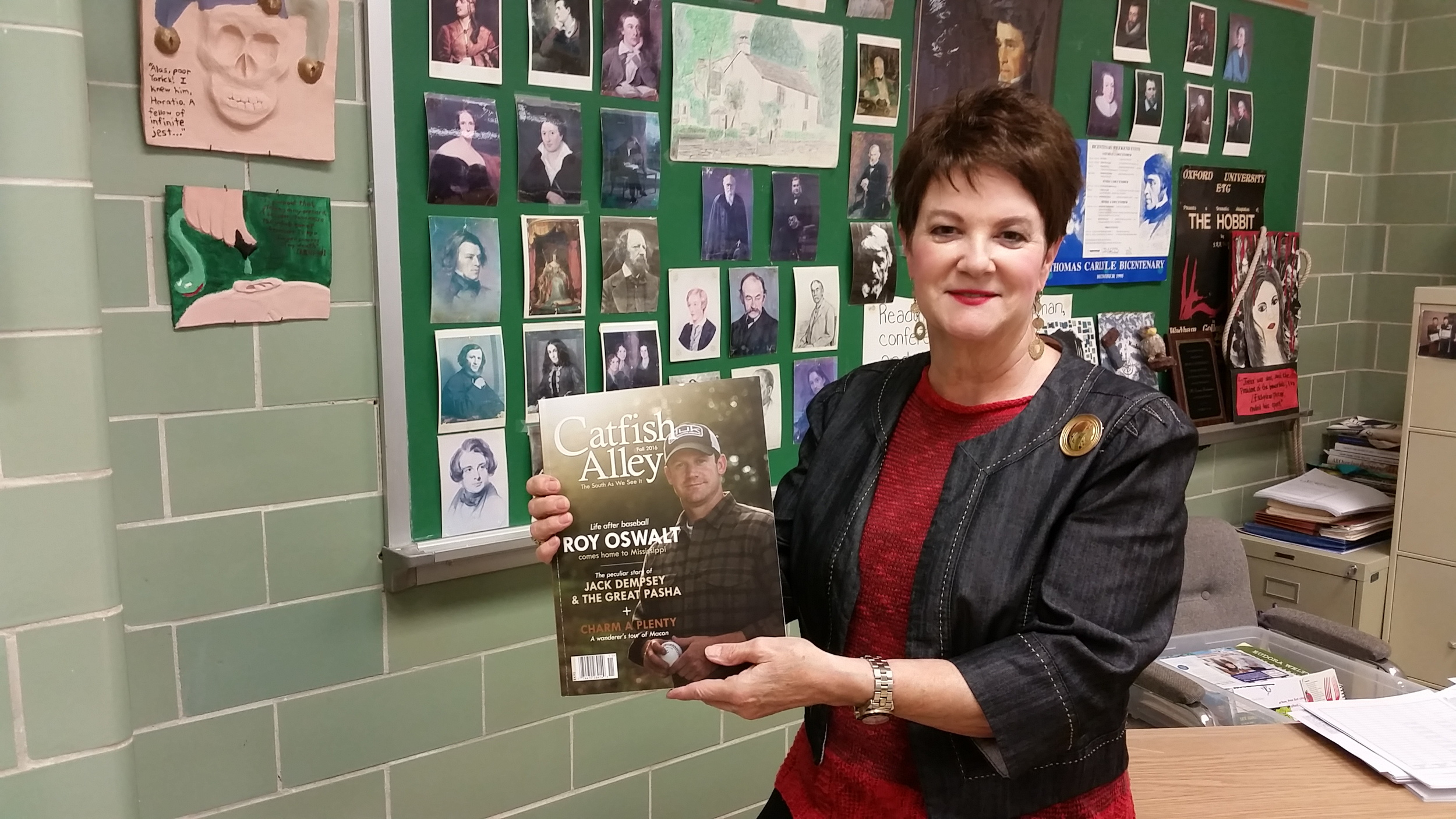 MSMS English faculty member Emma Richardson holds the latest copy of Catfish Alley magazine in which she is featured.