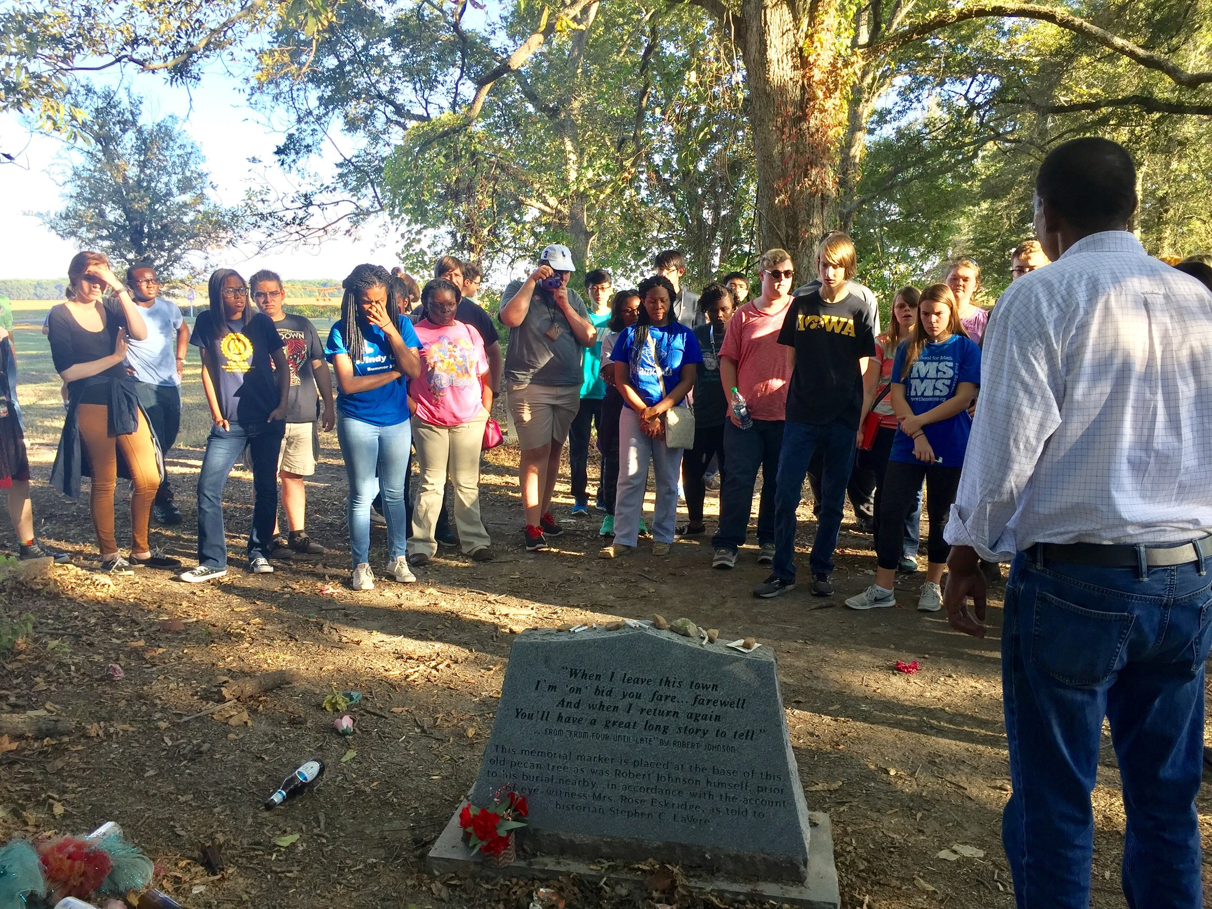 The MSMS Blue Notes visit the grave of Mississippi blues legend, Robert Johnson.