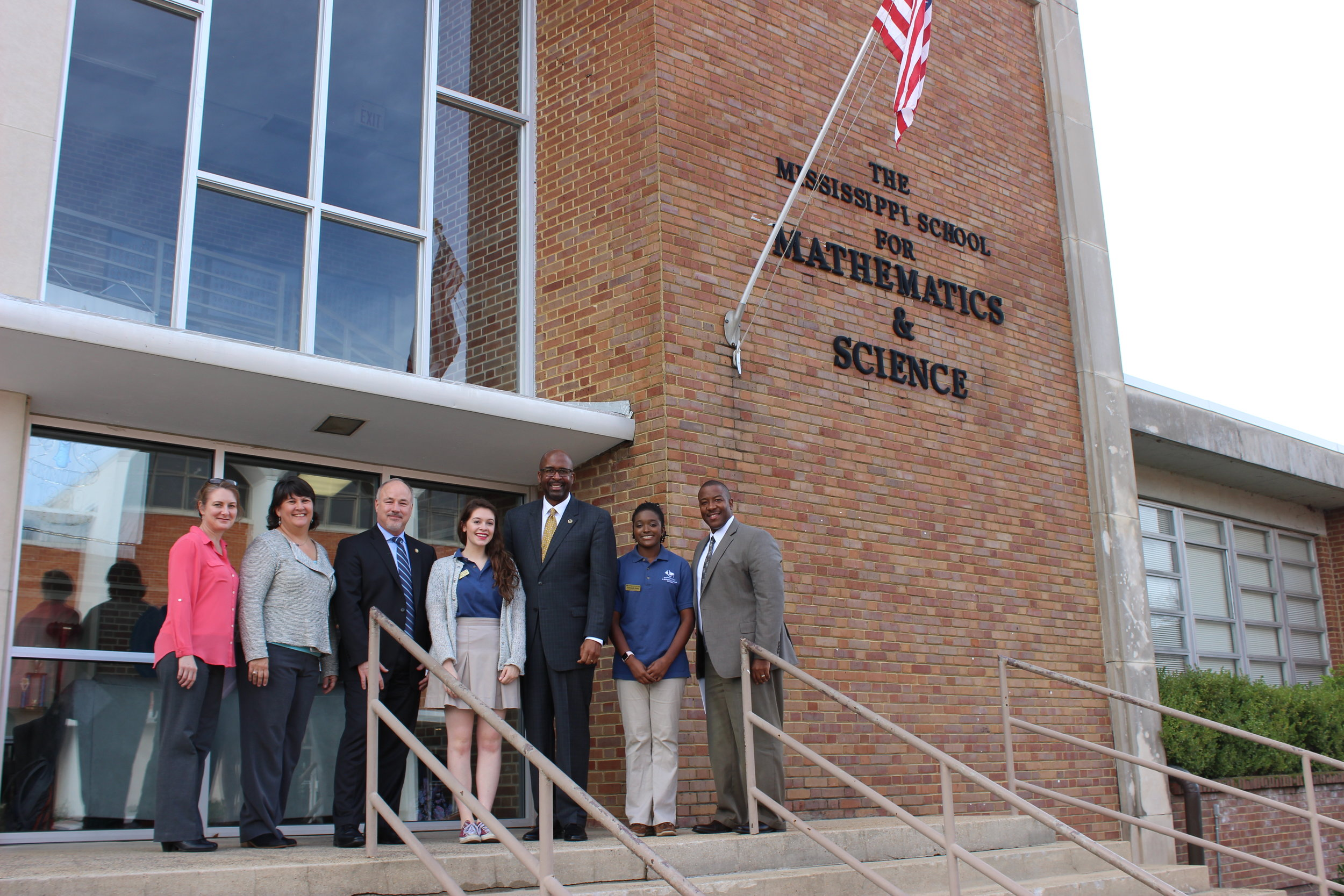 (from left) MSMS Director for Advancement, Dr. Heather Hanna;Director for Academic Affairs, Kelly Brown; USM Provost, Dr. Steven Moser; MSMS student, Claudia Vial; USM President, Dr. Rodney Bennett; MSMS student, McKenzie Jones; and MSMS Executive Director, Dr. Germain McConnell.