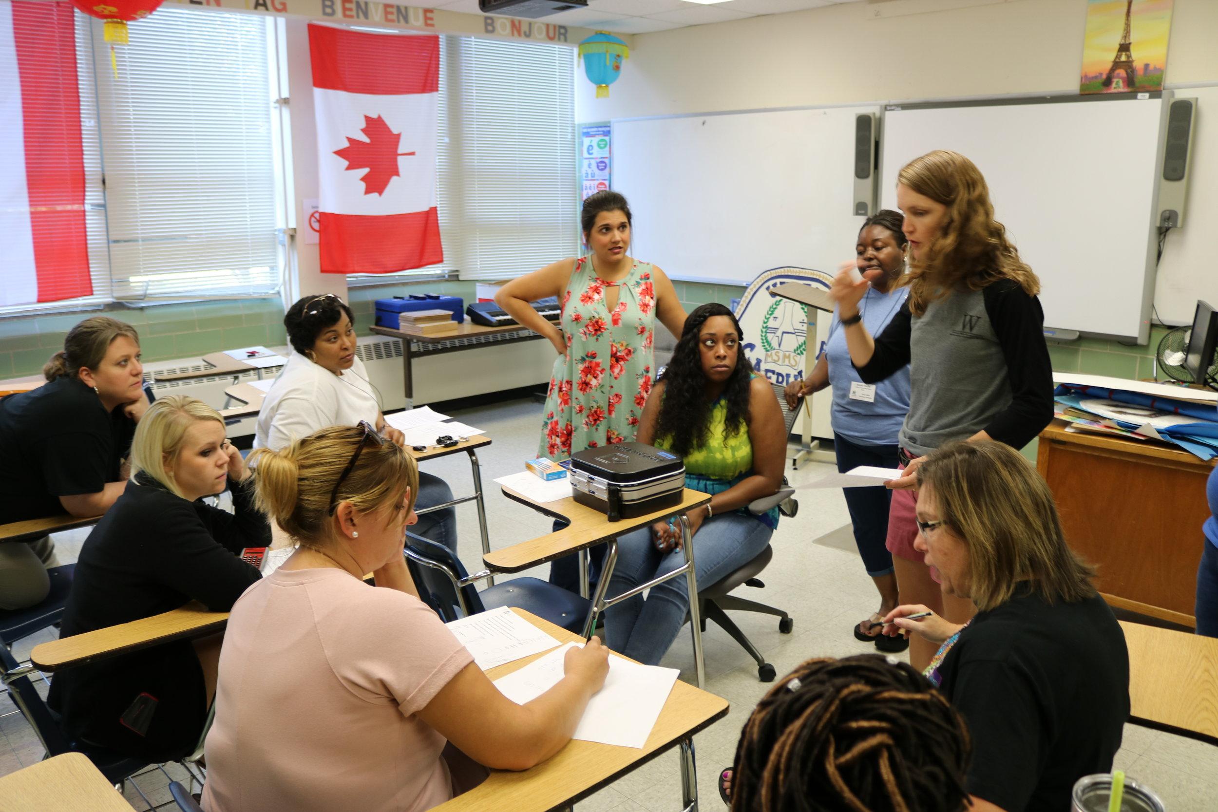 MSMS Math Instructor Lauren Zarandona leads a group of Mississippi math teachers at the 2017 CHAMPS program.