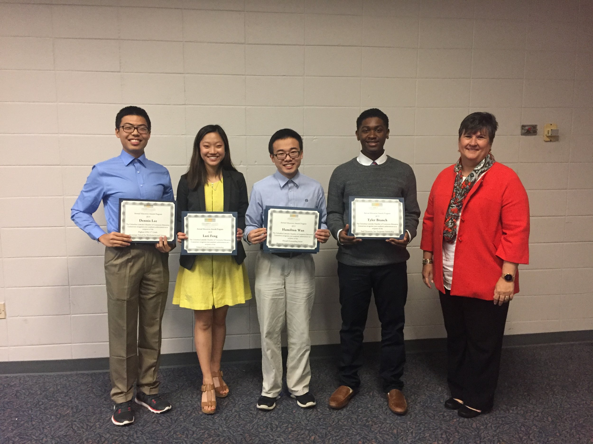 MSMS Director for Academic Affairs, Mrs. Kelly Brown, with MSMS students Dennis Lee, Lori Feng, Hamilton Wan, and Tyler Branch.