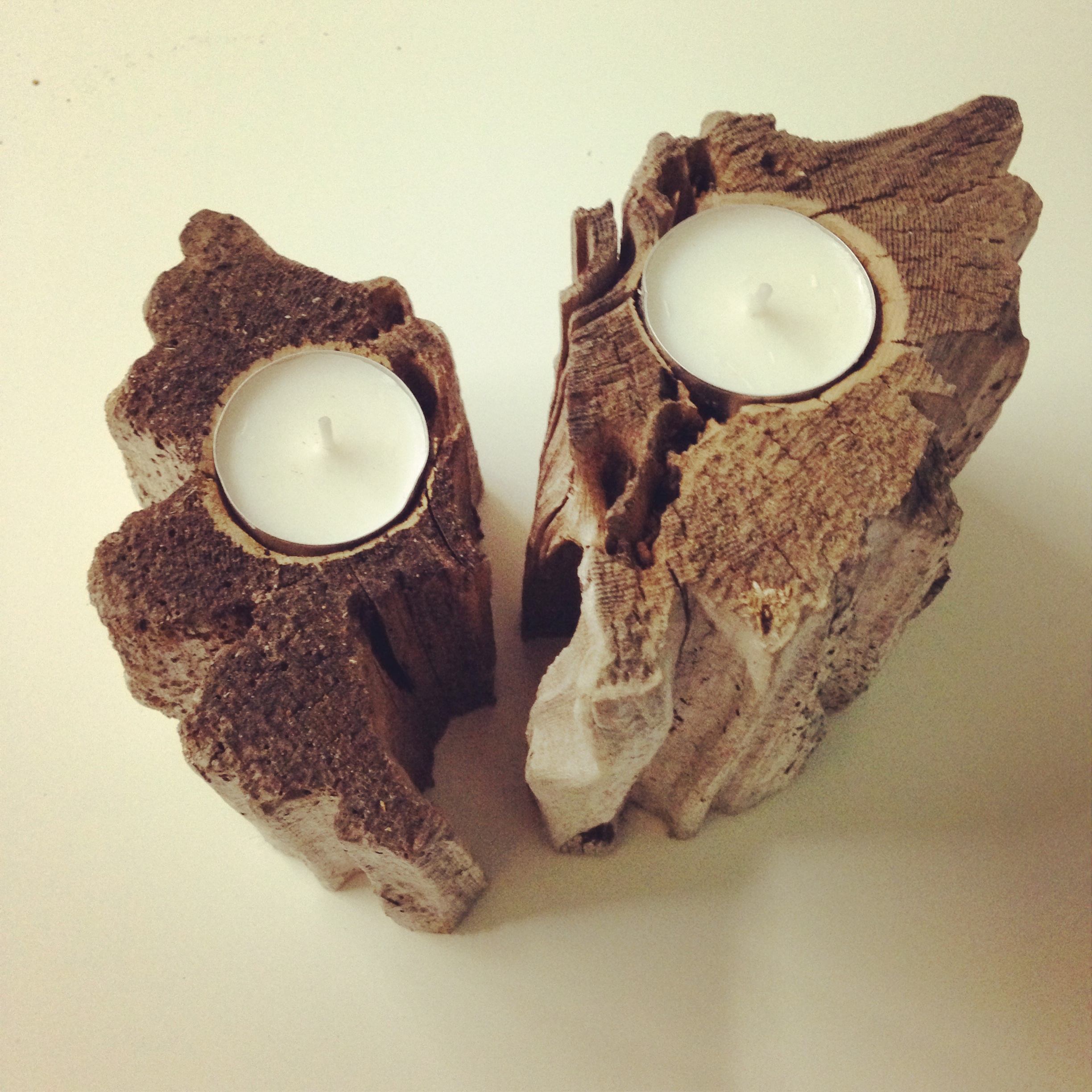 Driftwood Tealight Holders