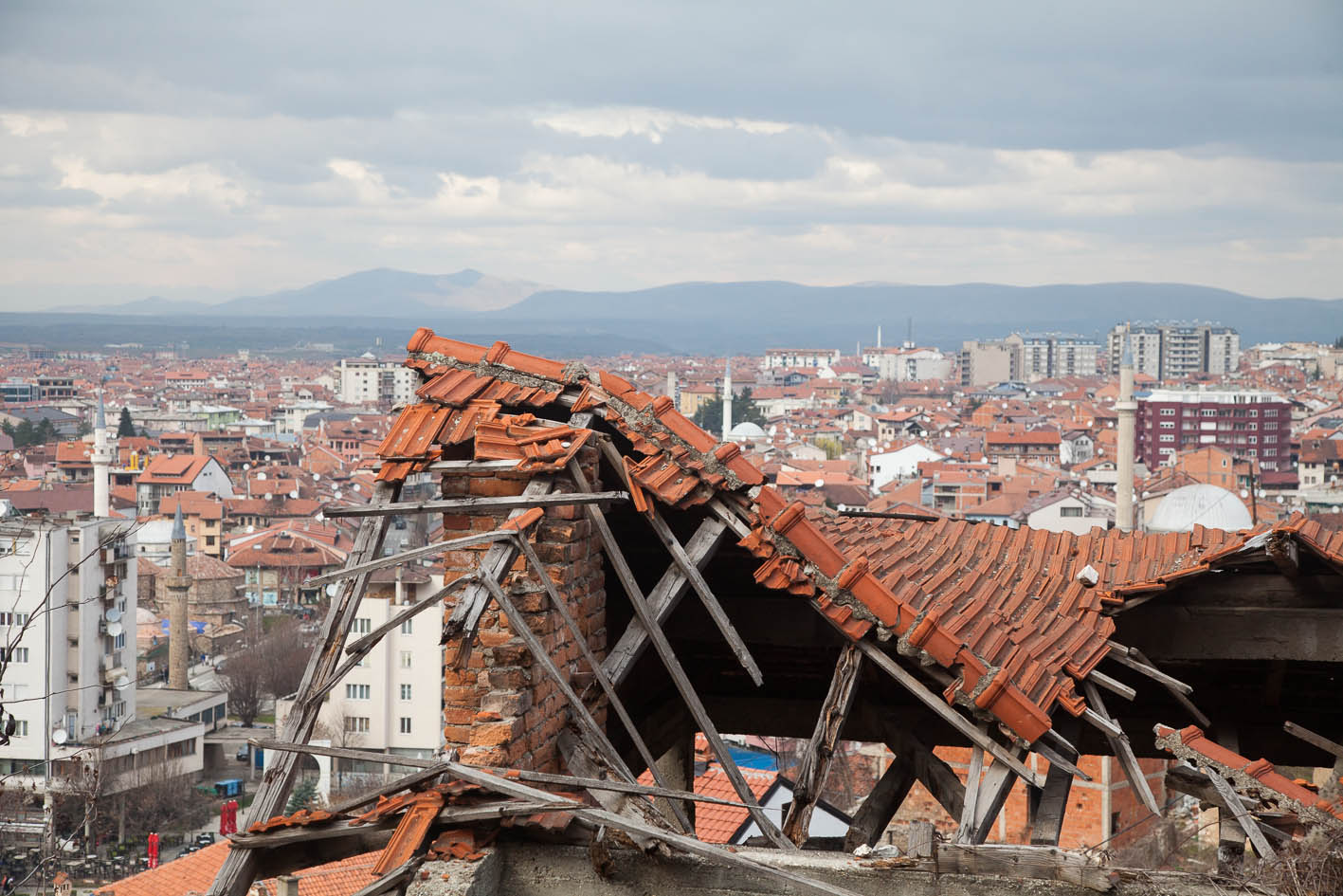 Destroyed Serbian houses all along the way...