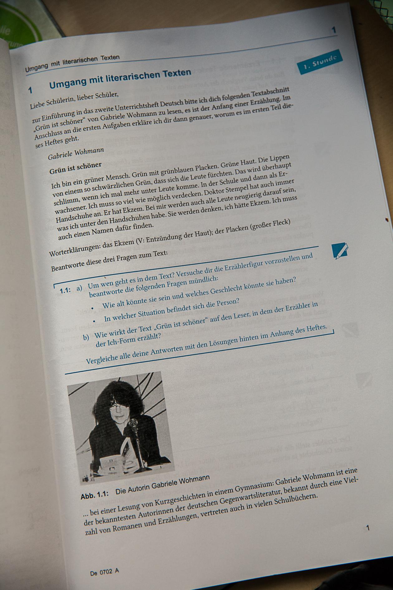 Zweites Unterrichtsheft Deutsch, 7. Klasse