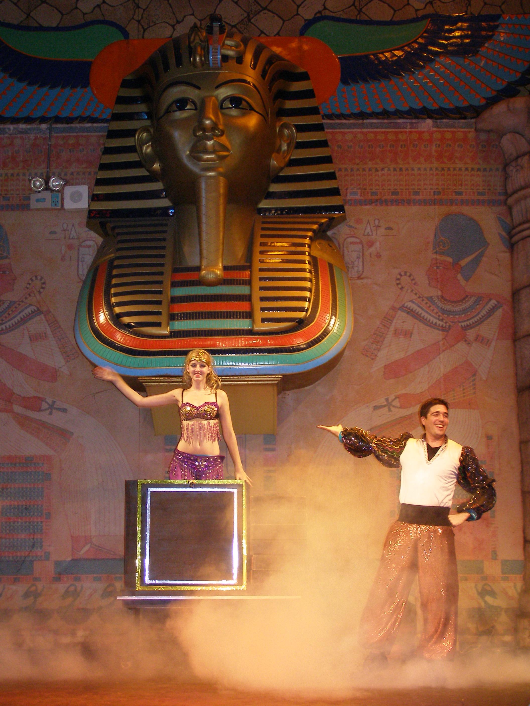 Ben Hutton providing entertainment at a theme park show.