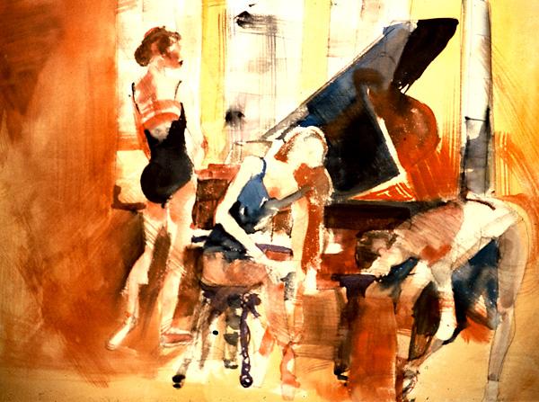 Watercolor, Ballet dancer in Complementary Blue & Orange
