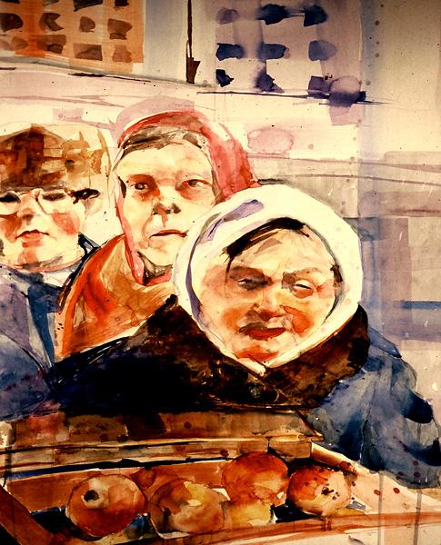 Watercolor, Market Scene