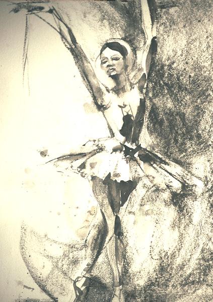Watercolor & Charcoal, Ballet Dancer
